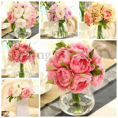 1 Bouquet Silk Artificial Peony Flowers Hydrangea Fake Leaf Wedding Bridal Party