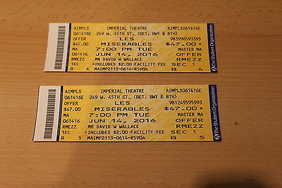 LES MISERABLES NEW YORK IMPERIAL THEATRE USED TICKET STUBS x 2