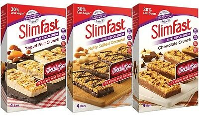 3 Boxes Slim Fast High Protein Meal Bars Diet Weight Loss Replacement Meal Snack