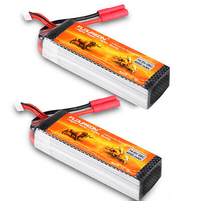 2x 4S 14.8V 4000mAh 25C LiPo Battery HXT4mm for RC Car Airplane Helicopter Hobby