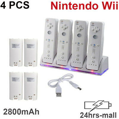 4X White Charger Dock Station Rechargeable Battery Pack For Nintendo Wii Remote
