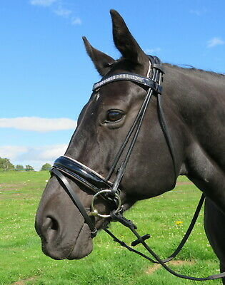 FSS SHINING Curve GUNMETAL HEMATITE CRYSTAL BLING Rolled Comfort PATENT Bridle