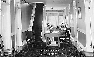 Constantine MI Harvey Hotel Sun Room~Rocking Chair~Open Staircase RPPC 1911