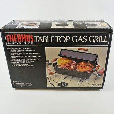 Vtg Thermos Table Top Gas Grill 10105 Portable Camping Steel Chrome-Plated NIB