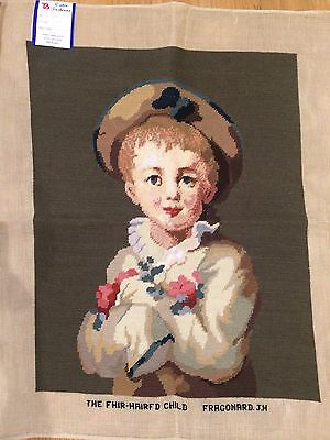 "Large Vintage Completed Needlepoint Canvas Tapestry 23"" x 28"""