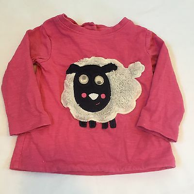 NEXT pink fluffy sheep with moving eye sleeved top Baby girls clothes 3-6 Months
