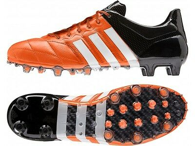 New Mens Adidas Ace 15.1 Leather FG AG Black Bright Orange Football Soccer Boots