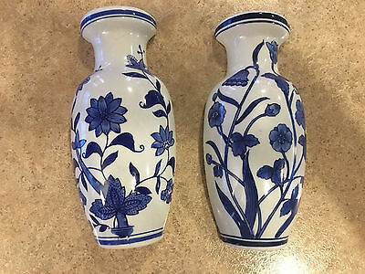 "Cobalt Blue and White 8 1/4 "" Wall Pocket / Planter / Vases Excellent!"