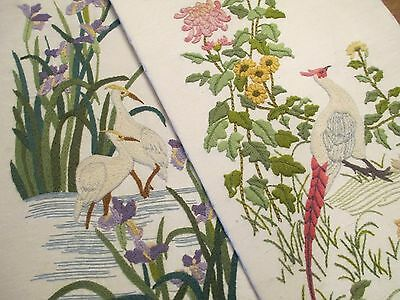 Vintage Exotic Birds Embroidered Wall Pictures Decor Needle Art to Frame Large