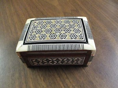 Mother-of-Pearl Inlay Small Trinket Box Made in Egypt