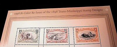 #3209, Trans-Mississippi Re-Issue, 1998, Souvenir Sheet Of 9 Stamps, Cv $20.00