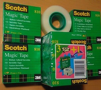 "Lot of 8 Scotch Invisible Magic Tape 3 M, 3/4 x 1299"", 19mmX33m, Made in France"