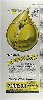 Vintage 1949 PENNZOIL MOTOR OIL Large 1/2 Page Magazine Print Ad: CIRCUS CANNON