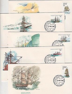 AAT Antarctic stamps ships 2 series set of 5 on USA Fleetwood FDC's, popular