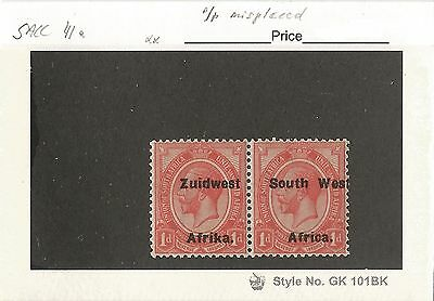 South West Africa 1924 King George Type VI variety on 1d O/P misplaced left. MNH