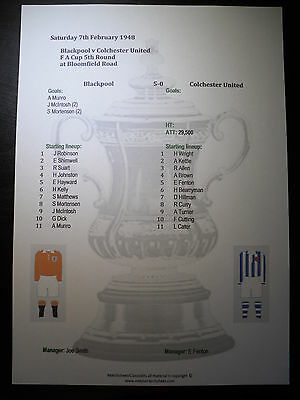 1947-48 FA Cup 5th Round Blackpool v Colchester United matchsheet