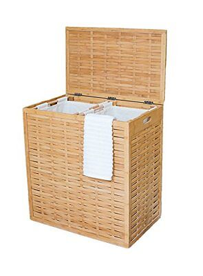 Clothes Hamper Laundry family size Home Oversized Divided Made of Natural Bamboo
