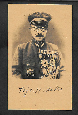 Hideki Tojo Autograph Reprint On Genuine Original Period 1940s 3X5 Card