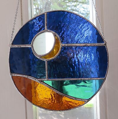 Midnight Sea! Lovely Crescent Moon Stained Glass Suncatcher - pewtermoonsilver