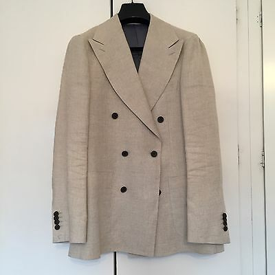 Mens Suit Supply Pure Linen Double Breasted Suit Jacket Bellora Italian Wool 38R