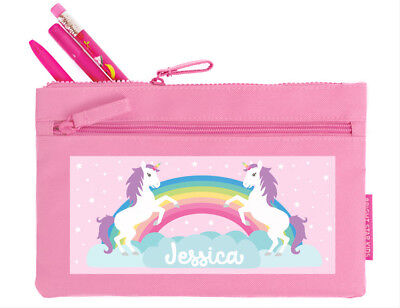 Bright Star Kids Pink Personalised Pencil Pouch Case / Bag - Unicorn and Rainbow