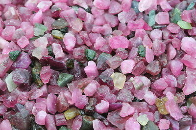 100CT.ROUGH MIX Colour MIX!! PINK/GREEN Tourmaline Natural Mine Freeship!