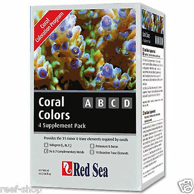 Red Sea Coral Colors ABCD 4-Supplement Pack (4 x 100ml) for Coral FREE USA SHIP!