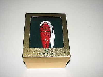 Wedgwood Ruby Red Icicle Gold Decorated Porcelain Christmas Ornament New in Box