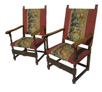 Antique Furniture Pair of French Antique Needlepoint Chairs Armchairs