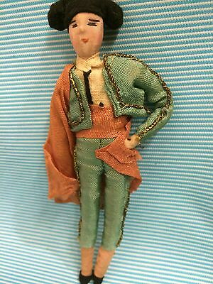 "7"" Antique Vintage Matador Doll Bullfighter Spain Cloth"