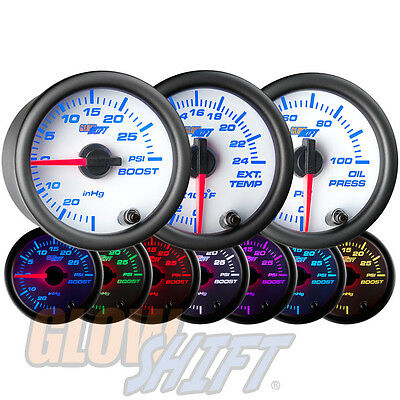 52mm GLOWSHIFT WHITE 7 BOOST / VACUUM, EXHAUST GAS TEMP & OIL PRESSURE GAUGES