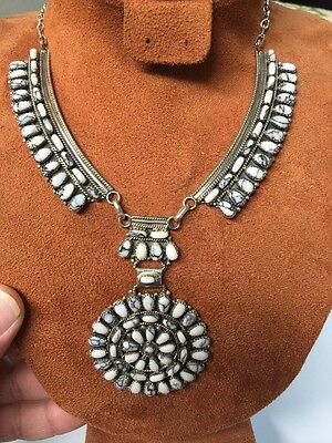Navajo Native American White Buffalo Turquoise Cluster Necklace Juliana W Wow #2