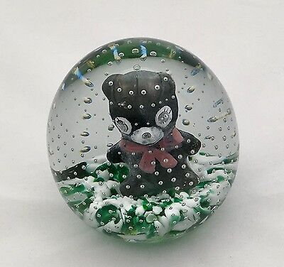 1990 Gibson Glass Sulphide Paperweight W Teddy Bear Controlled Bubbles