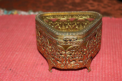 Vintage Ormolu Gilded Gold Metal Trinket Jewelry Box W/Beveled Glass Top-Footed