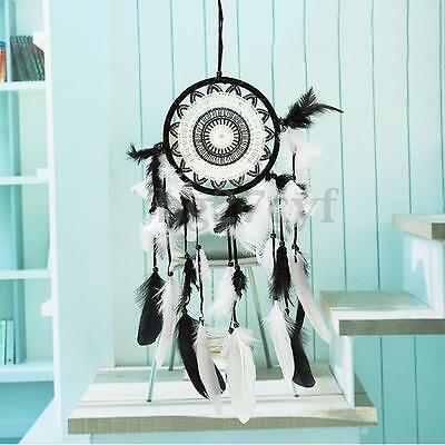 Black & White Feathers Dream Catcher Wall Hanging Home Decor Ornament Gift AU