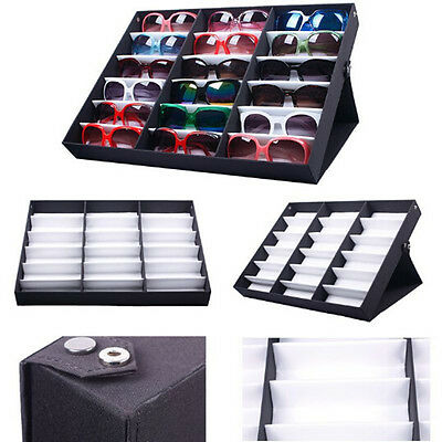 18 Slot Grid Eyeglass Sunglasses Glasses Storage Display Stand Case Box Holder