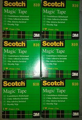 Scotch Magic Tape, 3/4 x 1296 Inches, Boxed, Lot of 6 Rolls 810 3M France