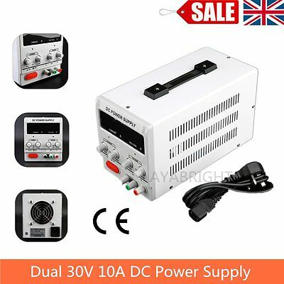 10A 0-30V Adjustable DC Power Supply Precision Variable Digital Lab w/clip CE UK