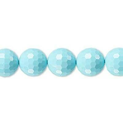 2378 IMITATION Turquoise Beads faceted rounds blue 8mm 8 inch  *UK EABY SHOP*