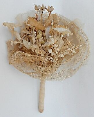 Antique Victorian Edwardian Wax Flowers,buds&cloth Flowes Wedding Bridal Bouquet