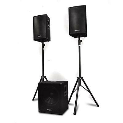 Equipo Sonido Pa Dj Profesional Altavoces 300W Subwoofer Activo 1200W Tripodes