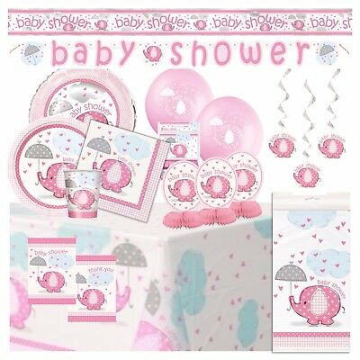 PINK UMBRELLAPHANTS - Baby Shower Party Supplies,Decorations,Games,Banners,Girl