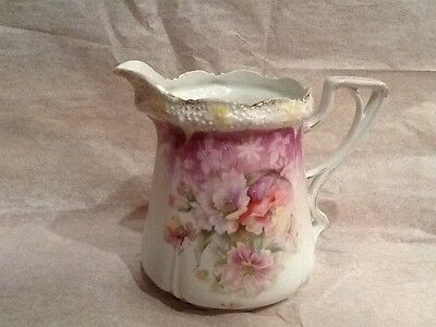 RS Prussia pitcher Surup Floral Unmarked  Vintage