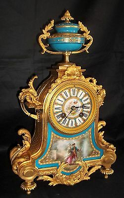 Beautiful 19th Century French Striking Ormolu Mantle Clock With Porcelain Panels