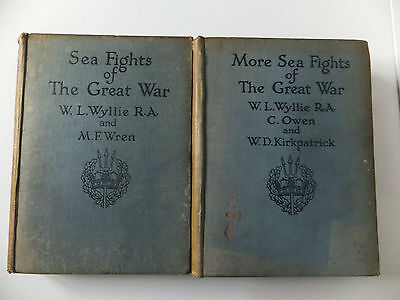 Sea Fights of The Great War, Wyllie & Wren nearly 100 years old ROYAL NAVY ships