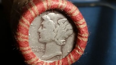 Wheat Penny Roll With 1907 Indian Cent And 1940 Mercury Silver Dime On Ends