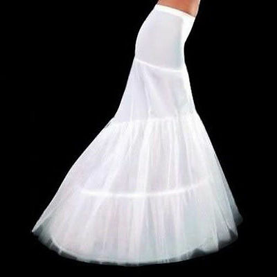 White 2-Hoop Mermaid Petticoat Bridal Wedding Dress Crinoline Underskirt Slips