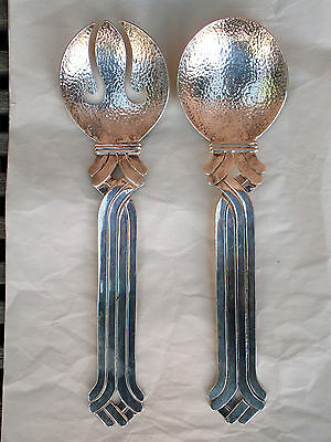 Vintage Mexican EMILIA CASTILLO Large Heavy Silver Plate SALAD SERVING SET