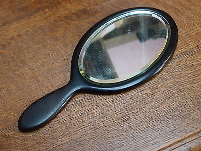 Antique Vintage 1930s Art Deco Real Ebony Oval Shaped Hand Mirror