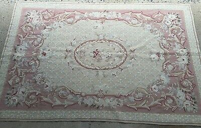 Vintage French Aubusson Rug Pink Country Floral Romantic Hand knotted